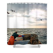 Setting Lobster Traps In Chatham On Cape Cod Shower Curtain