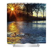 Setting On Thin Ice Shower Curtain