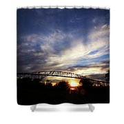 Setting Sun And Cloudy Skies Shower Curtain
