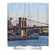 Setting Sun On Brooklyn Bridge Shower Curtain