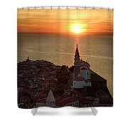 Setting Sun On The Adriatic Sea Behind Archangel Michael On Top  Shower Curtain