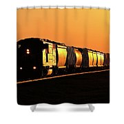 Setting Sun Reflecting Off Train And Track Shower Curtain