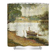 Seurat: Gray Weather Shower Curtain by Granger