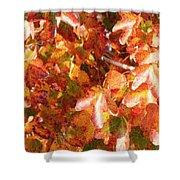 Seurat-like Fall Leaves Shower Curtain