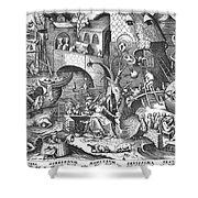 Seven Deadly Sins, 1558 Shower Curtain by Granger