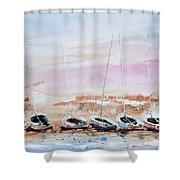 Seven Little Boats Shower Curtain