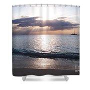 Seven Mile Beach Catamaran Sunset Grand Cayman Island Caribbean Shower Curtain by Shawn O'Brien