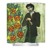 Seven Of Pentacles Illustrated Shower Curtain