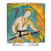 Seven Of Wands Illustrated Shower Curtain