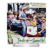 Seven-up Soda Ad, 1954 Shower Curtain by Granger