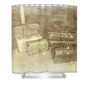 Several Vintage Bags On Floor Shower Curtain