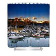 Seward Alaska Boat Marina Shower Curtain