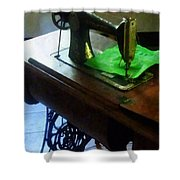 Sewing Machine With Green Cloth Shower Curtain