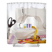 Sewing Machine With Many Sewing Utensils On A Wooden Box Shower Curtain