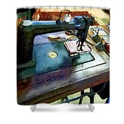 Sewing Machine With Sissors Shower Curtain
