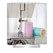 Sewing Threads In Pastel Colors And Detailed View Of A Sewing Machine Shower Curtain