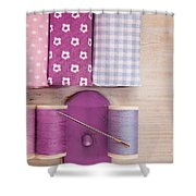 Sewing Threads Needle And Fabrics On A Wooden Box Shower Curtain