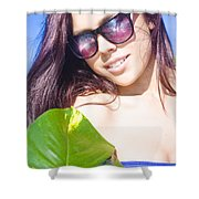 Sexy Beach Girl With Leaf Shower Curtain
