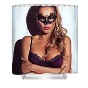 Sexy Glamorous Woman Wearing A Mask Shower Curtain