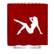 Sexy Trucker Girl White Tee Shower Curtain