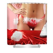 Sexy Woman Preparing For Christmas Holidays Shower Curtain