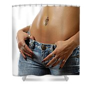 Sexy Woman With Pierced Belly In Blue Jeans Shower Curtain