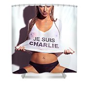 Sexy Young Woman In Wet Je Suis Charlie Shirt Charlie Riina Shower Curtain