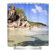 Seychelles Rocks Shower Curtain