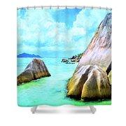Seychelles Shallows Shower Curtain