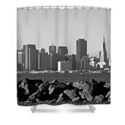 Sf Skyline  Bw Shower Curtain