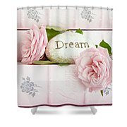 Shabby Chic Cottage Pink Roses On Pink Books - Romantic Inspirational Dream Roses  Shower Curtain