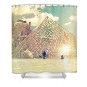 Shabby Chic Louvre Museum Paris Shower Curtain