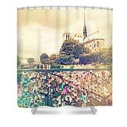 Shabby Chic Love Locks Near Notre Dame Paris Shower Curtain