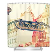 Shabby Chic Moulin Rouge Metro Sign Paris Shower Curtain
