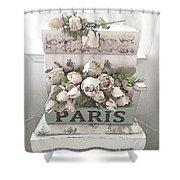 Paris Shabby Chic Pastel Paris Books Roses - Paris Shabby Cottage Watercolor Roses Shower Curtain