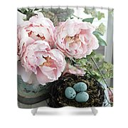 Shabby Chic Peonies With Bird Nest Robins Eggs - Summer Garden Peonies Shower Curtain
