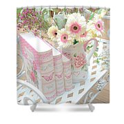 Shabby Chic Pink And Yellow Gerber Daisies Floral Art - Spring Cottage Daisies Floral Art Shower Curtain