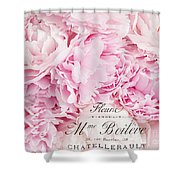 Shabby Chic Pink Pastel Peonies French Script - Paris Pink Peonies Baby Girl Nursery Decor Shower Curtain