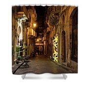 Shabby Chic - Small Street Night Walk In Syracuse Sicily Shower Curtain