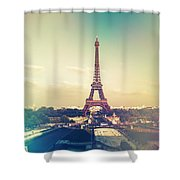 Shabby Chic Vintage Style Eiffel Tower Paris Shower Curtain