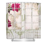 Shabby Cottage French Doors Shower Curtain