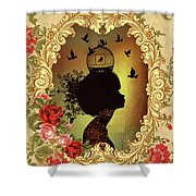 Shabby Fae Silhouette  Golden Shower Curtain