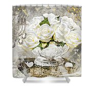 Shabby White Roses With Gold Glitter Shower Curtain