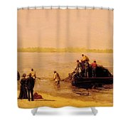 Shad Fishing At Gloucester On The Delaware River 1881 Shower Curtain