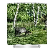 Shaded Bench Shower Curtain
