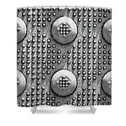 Shades Of Gray Dots With Border Shower Curtain