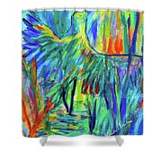 Shadow Heron Shower Curtain