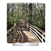 Shadows On A Boardwalk Through The Swamp Shower Curtain