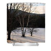 Shadows On A Snow Covered Field Shower Curtain