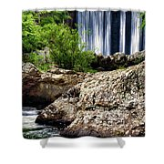 Shady Lake Falls Shower Curtain by Lana Trussell